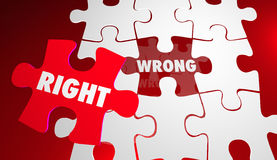 Right Vs Wrong Correct Accurate Puzzle Pieces. 3d Illustration Royalty Free Stock Photos