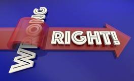 Right Vs Wrong Correct True False Fair Arrow Words 3d Illustrati. On Royalty Free Stock Photography
