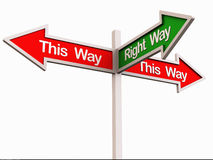The right way. Crossroad board showing this way, that way and the right way in green, showing the right choice concept Stock Images