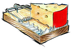 Right Way. Illustrating the usage of correct methods with mouse trap and cheese used symbolically Royalty Free Stock Photo