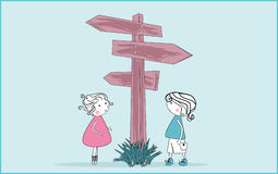 Right way. Vector illustration of boy and girl standing at crossroad Royalty Free Stock Image