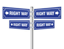 Right Way Guidepost Royalty Free Stock Photos