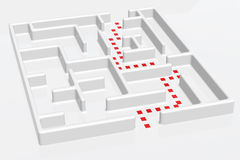 Right Way Maze. A maze with doted right way Royalty Free Stock Photos