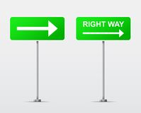 Right Way street road sign . Vector Royalty Free Stock Image