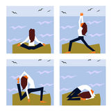 Right Way to Start One's Morning. A girl practising yoga at the seaside royalty free illustration