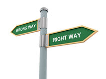 Right way and wrong way Royalty Free Stock Image