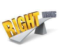 Right Weighs In Against Wrong. Bright, gold RIGHT weighs one end of a gray balance beam down while a gray WRONG sits high in the air on the other end. Focus is Royalty Free Stock Photo