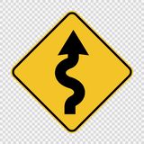 Right winding road Sign on transparent background royalty free illustration