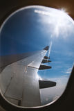 Right window view of an jet airplane Stock Photos