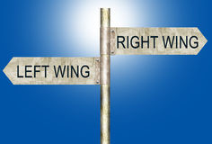 Right Wing Left Wing Road Signs. An illustration of Left Wing and Right Wing Road Signs . Two political extremes Stock Photography