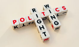 Right wing politics. Text ' right ', ' wing ' and ' politics ' in uppercase letters inscribed on small white cubes and arranged crossword style with common Stock Photography