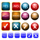 Right and wrong. Illustration of right and wrong symbols collection Stock Photos
