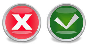 Right and wrong. Web buttons on white background royalty free illustration