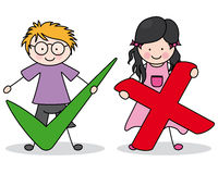 Right or wrong. Children carrying symbols. Right or wrong royalty free illustration