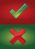 Right and wrong. Symbols in wrong background stock illustration