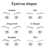 Right and wrong brow   shapes. Right and wrong eyeliner and eyebrows shapes. Female eyes and eyebrows  elements isolated on white background. Types of eye Royalty Free Stock Images