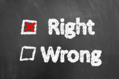 Right wrong chalk text and check box on blackboard or chalkboard royalty free stock images
