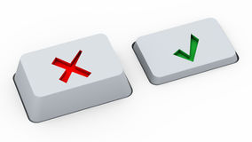 Right & wrong choice buttons. 3d render of keyboard buttons with yes and no symbols Stock Image