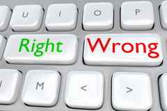 Right/Wrong concept. Render illustration of computer keyboard with the print Right on one button, and the print Wrong on a near by button Stock Photos