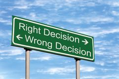 Right Wrong Decision Road Sign roadside signpost Royalty Free Stock Photos