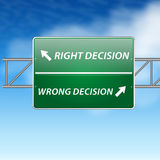 Right and wrong decisions direction board (sign) o Stock Photo