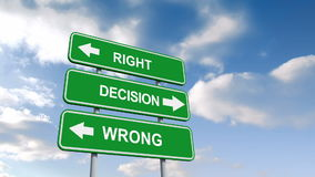 Right wrong decisions signs against blue sky royalty free illustration