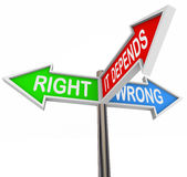 Right Wrong It Depends - 3 Colorful Arrow Signs Royalty Free Stock Photos