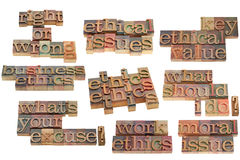 Right or wrong ethical dilemma. Right or wrong, ethics related issues, phrases and questions - vintage wood letterpress printing blocks isolated on white Royalty Free Stock Photo