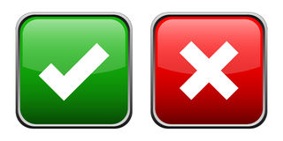 Right and wrong icon 2. Green and red gradient right and wrong symbol eps Stock Photo