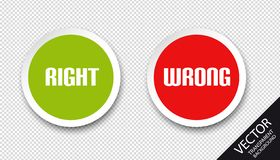 Right Wrong Icons - Green And Red Vector Buttons - Isolated On Transparent Background stock illustration
