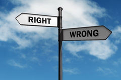 Right and wrong. Signpost with right and wrong direction choices royalty free stock image