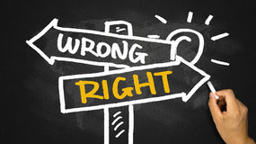 Right or wrong signpost hand drawing on blackboard. Right or wrong signpost concept hand drawing on blackboard Royalty Free Stock Photo