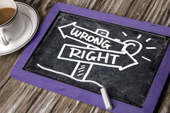 Right or wrong signpost hand drawing on blackboard Stock Photography