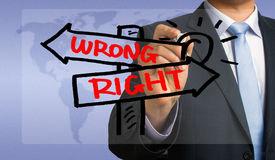 Right or wrong signpost hand drawing by businessman Stock Photo