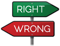 Right or Wrong Signs. Right or wrong highway signs vector illustration