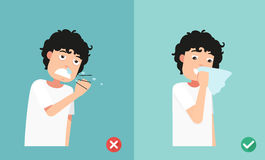 Right and wrong sneezing in hand and handkerchief,illustration Royalty Free Stock Images