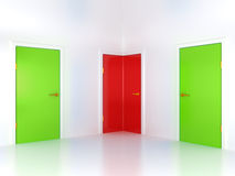 Right or wrong way: conceptual corner door Royalty Free Stock Image
