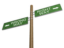 Right Wrong Way Green Road Sign on Wooden Pole Stock Images