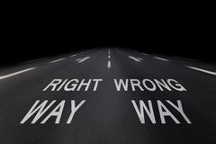Right and wrong way Stock Image