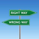 Right and wrong way sign (vector) Stock Photo