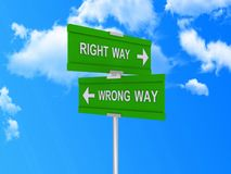 Right and Wrong way signs. A pair of signs reading the right way and the wrong way vector illustration