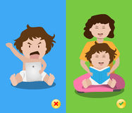 Right and wrong ways learning for child. Royalty Free Stock Images
