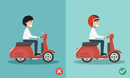 Right and wrong ways riding to prevent car crashes Stock Photography