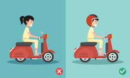 Right and wrong ways riding to prevent car crashes Stock Image