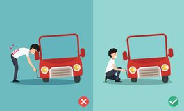 Right and wrong ways to fixing car a car,illustration Stock Image