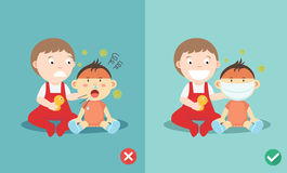 Right and Wrong ways to protect the children Stock Images
