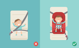 Right and wrong ways for using the car seat for a baby Royalty Free Stock Photos