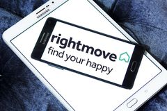 Rightmove real estate company logo. Logo of Rightmove company on samsung mobile. Rightmove plc is the UK`s largest online real estate portal and property website Stock Photo