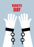 Rights day. Hands free. Torn chain. Broken shackles, handcuffs. Poster for  international human rights day Royalty Free Stock Image
