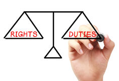 Rights and duties balance Stock Photography
